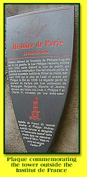 Plaque commemorating the site of the Tower of Nesle